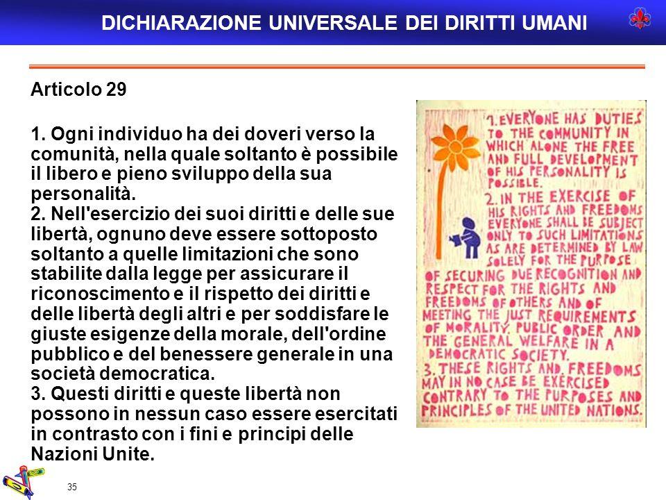 35 Articolo 29 1. Ogni individuo ha dei doveri verso la comunità, nella quale soltanto è possibile il libero e pieno sviluppo della sua personalità. 2