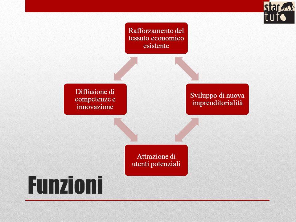Funzioni Rafforzamento del tessuto economico esistente Sviluppo di nuova imprenditorialità Attrazione di utenti potenziali Diffusione di competenze e innovazione
