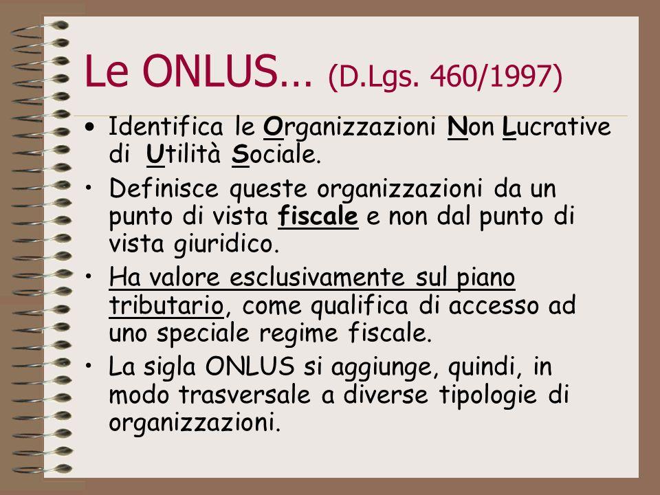 Le ONLUS… (D.Lgs. 460/1997) I dentifica le Organizzazioni Non Lucrative di Utilità Sociale. Definisce queste organizzazioni da un punto di vista fisca