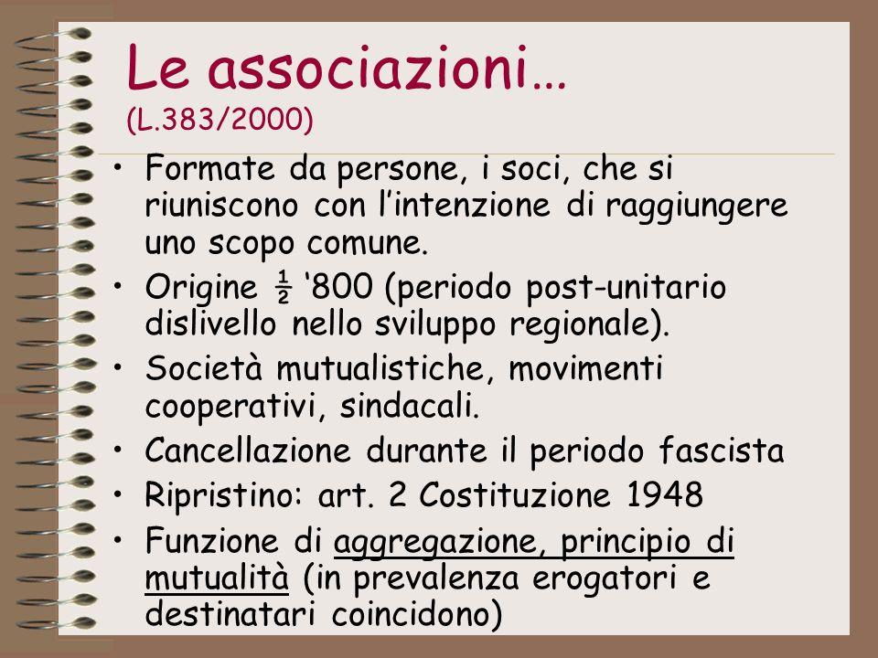Le associazioni… (L.383/2000) Formate da persone, i soci, che si riuniscono con lintenzione di raggiungere uno scopo comune. Origine ½ 800 (periodo po