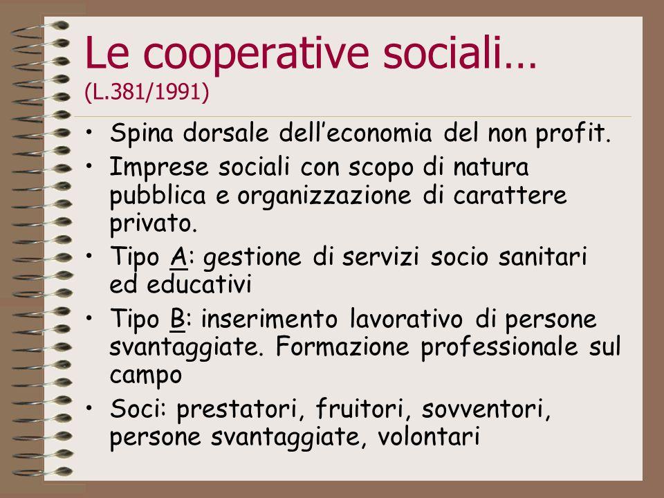 Le cooperative sociali… (L.381/1991) Spina dorsale delleconomia del non profit. Imprese sociali con scopo di natura pubblica e organizzazione di carat