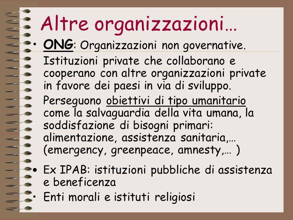 Altre organizzazioni… ONG : Organizzazioni non governative. Istituzioni private che collaborano e cooperano con altre organizzazioni private in favore