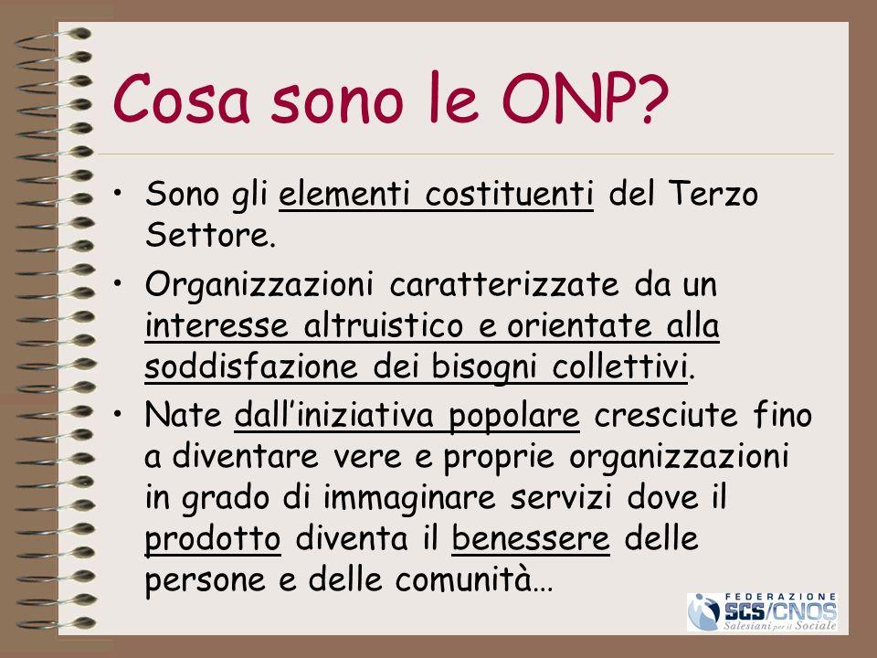Cosa sono le ONP? Sono gli elementi costituenti del Terzo Settore. Organizzazioni caratterizzate da un interesse altruistico e orientate alla soddisfa