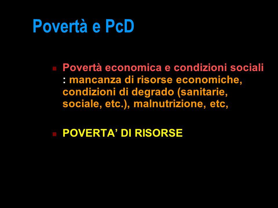 Povertà e PcD Povertà economica e condizioni sociali : mancanza di risorse economiche, condizioni di degrado (sanitarie, sociale, etc.), malnutrizione