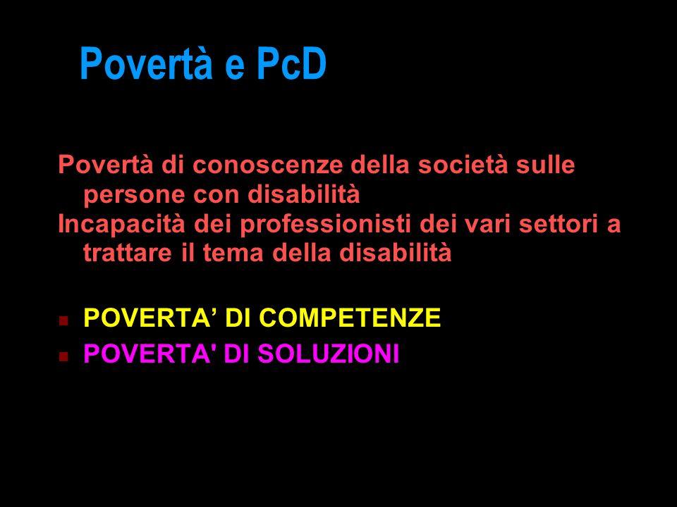 Povertà e PcD Povertà di conoscenze della società sulle persone con disabilità Incapacità dei professionisti dei vari settori a trattare il tema della