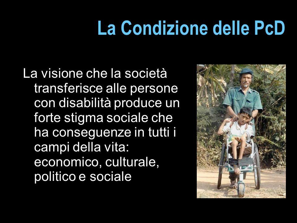La Condizione delle PcD La visione che la società transferisce alle persone con disabilità produce un forte stigma sociale che ha conseguenze in tutti