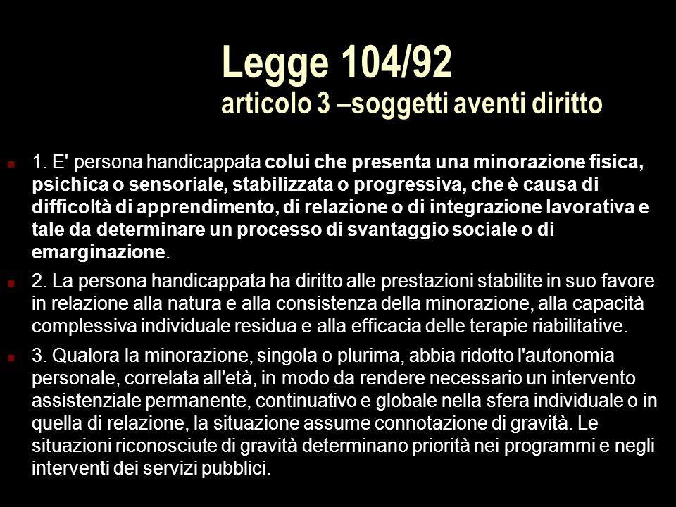 Legge 104/92 articolo 3 –soggetti aventi diritto 1. E' persona handicappata colui che presenta una minorazione fisica, psichica o sensoriale, stabiliz