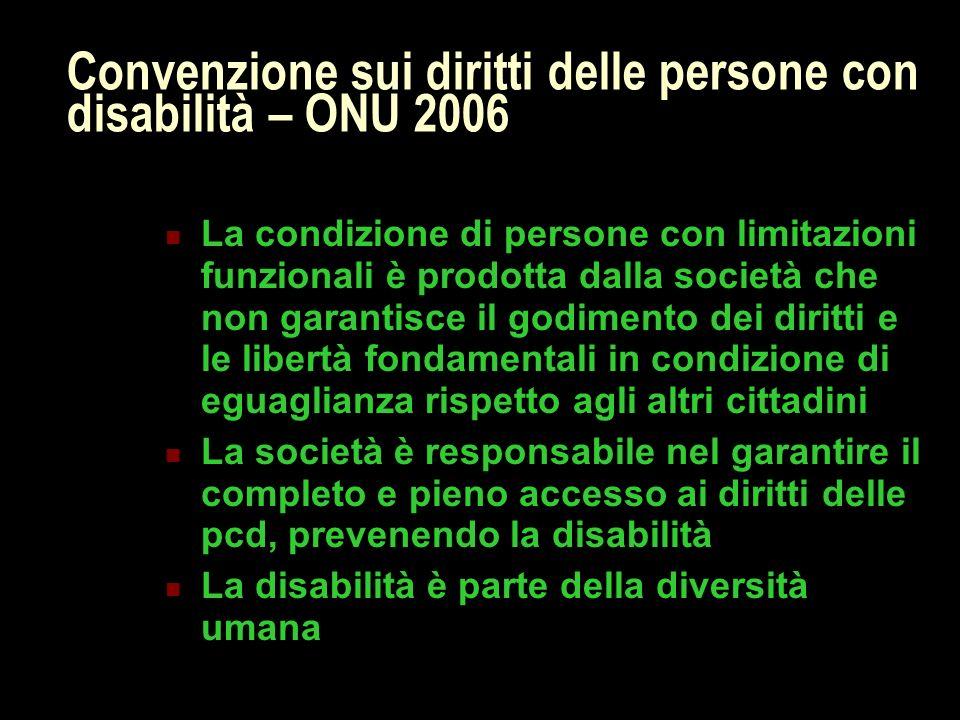 Convenzione sui diritti delle persone con disabilità – ONU 2006 La condizione di persone con limitazioni funzionali è prodotta dalla società che non g
