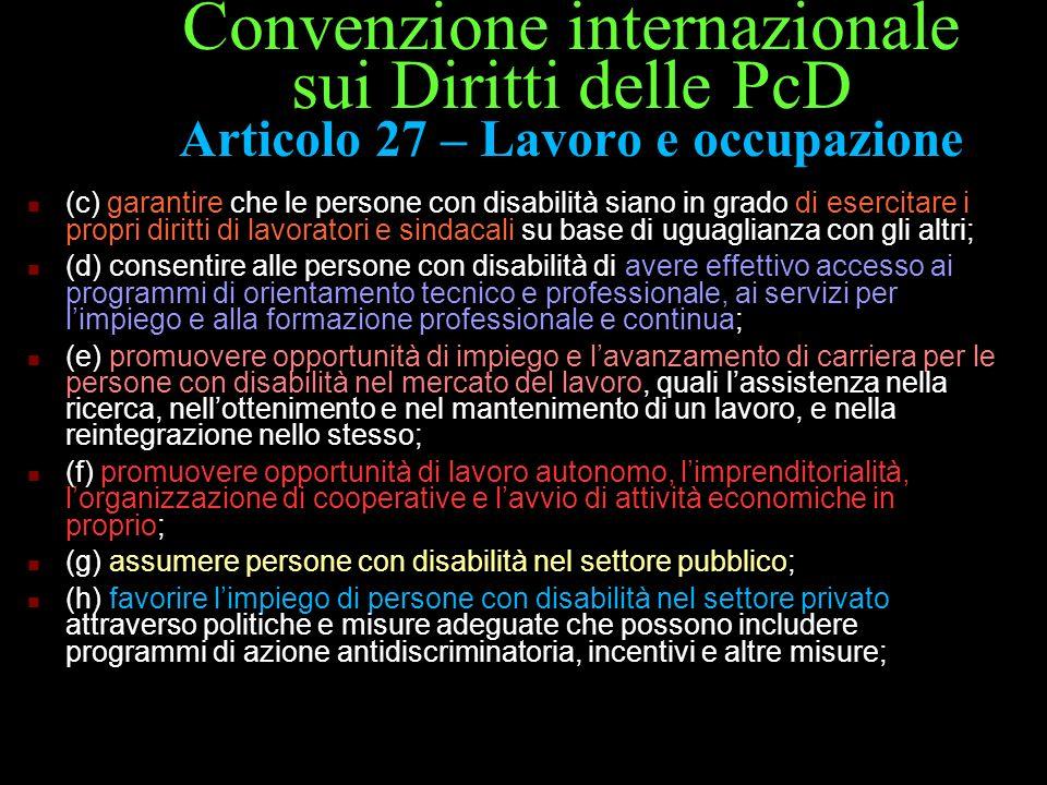 Convenzione internazionale sui Diritti delle PcD Articolo 27 – Lavoro e occupazione (c) garantire che le persone con disabilità siano in grado di eser