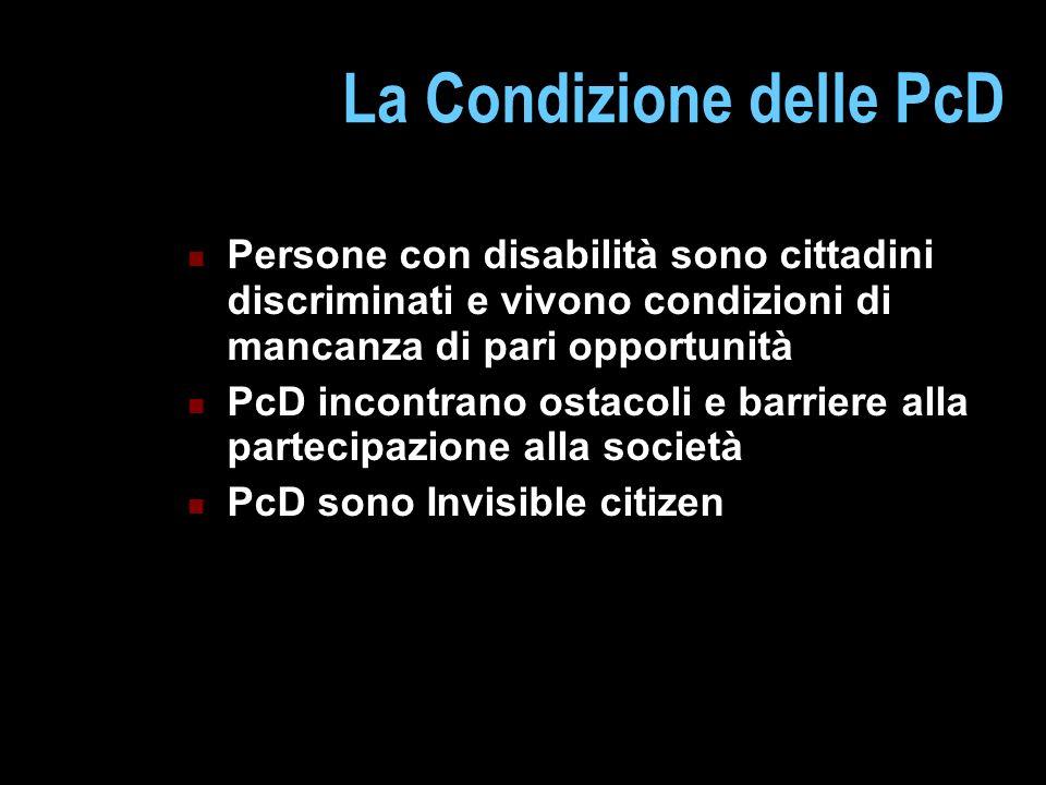 La Condizione delle PcD Persone con disabilità sono cittadini discriminati e vivono condizioni di mancanza di pari opportunità PcD incontrano ostacoli
