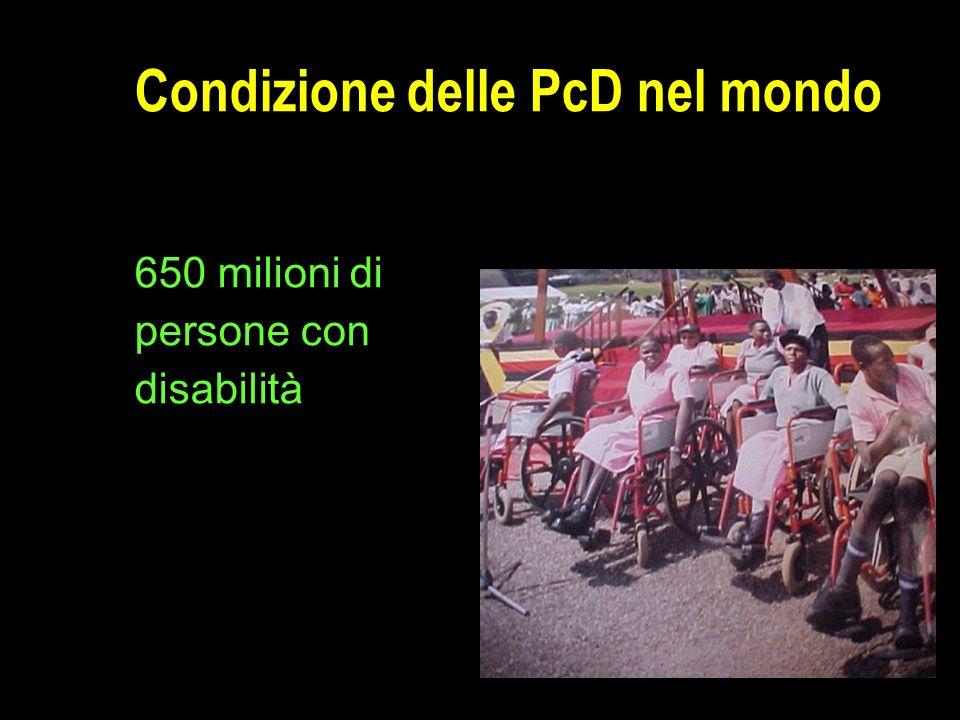 Condizione delle PcD nel mondo 650 milioni di persone con disabilità