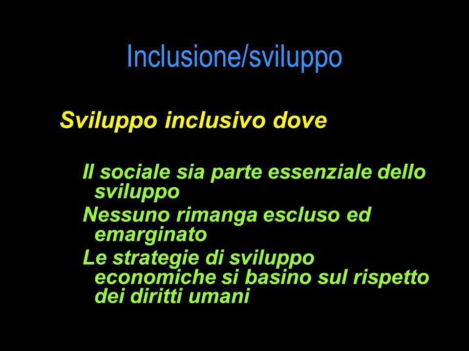 Inclusione/sviluppo Sviluppo inclusivo dove Il sociale sia parte essenziale dello sviluppo Nessuno rimanga escluso ed emarginato Le strategie di svilu
