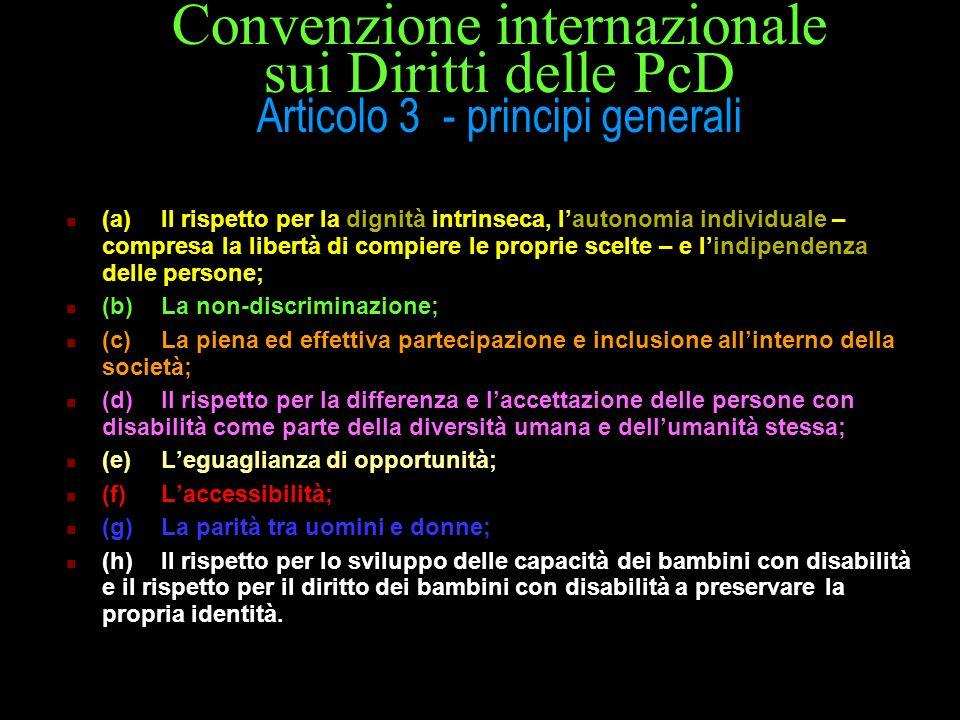 Convenzione internazionale sui Diritti delle PcD Articolo 3 - principi generali (a)Il rispetto per la dignità intrinseca, lautonomia individuale – com