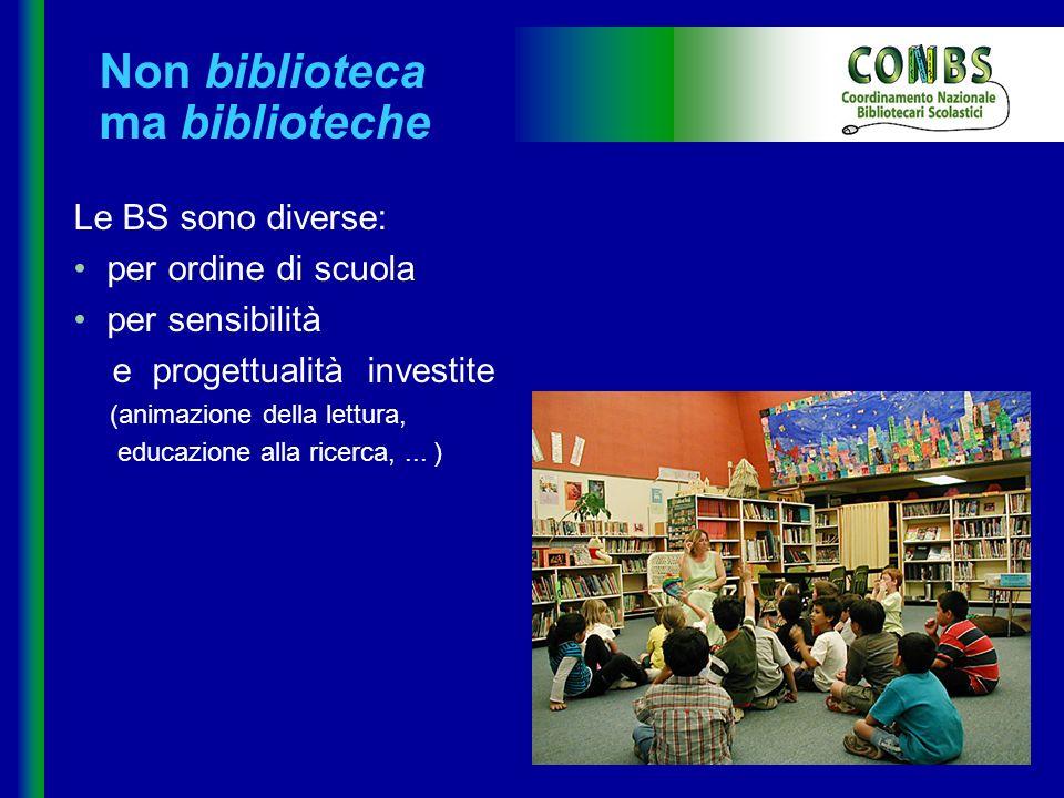 Non biblioteca ma biblioteche Le BS sono diverse: per ordine di scuola per sensibilità e progettualità investite (animazione della lettura, educazione alla ricerca,...