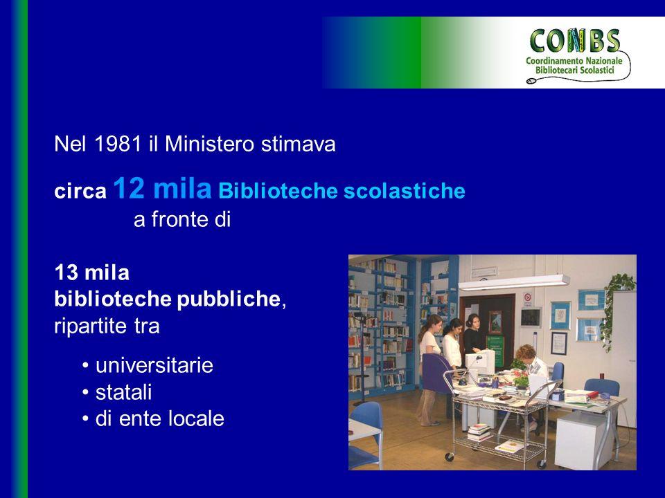 Nel 1981 il Ministero stimava circa 12 mila Biblioteche scolastiche a fronte di 13 mila biblioteche pubbliche, ripartite tra universitarie statali di ente locale