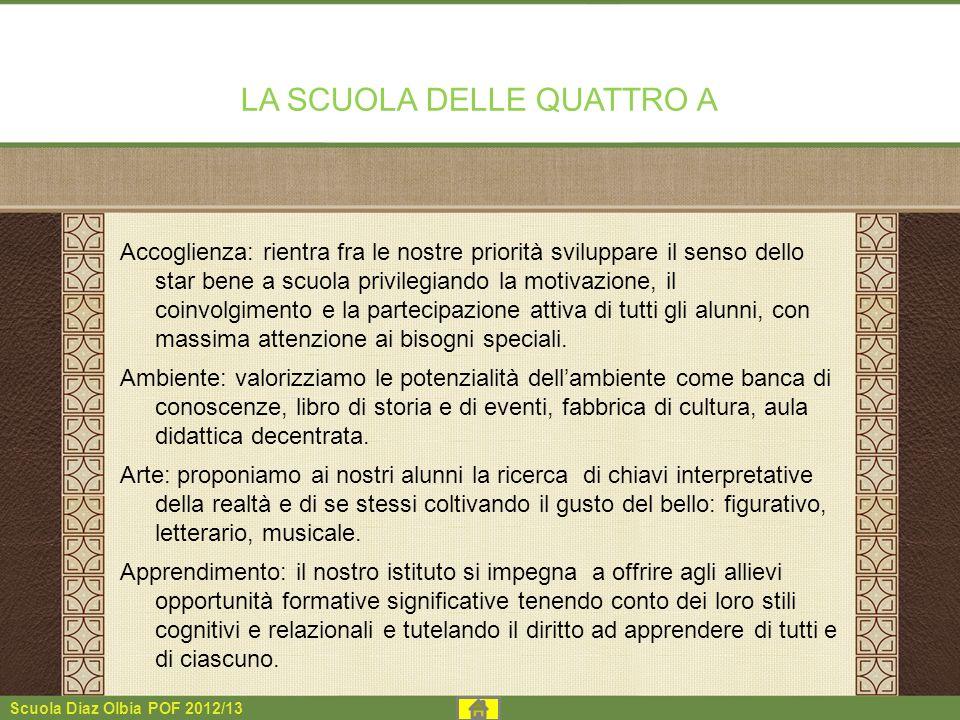 Scuola Diaz Olbia POF 2012/13 LA SCUOLA DELLE QUATTRO A Accoglienza: rientra fra le nostre priorità sviluppare il senso dello star bene a scuola privi