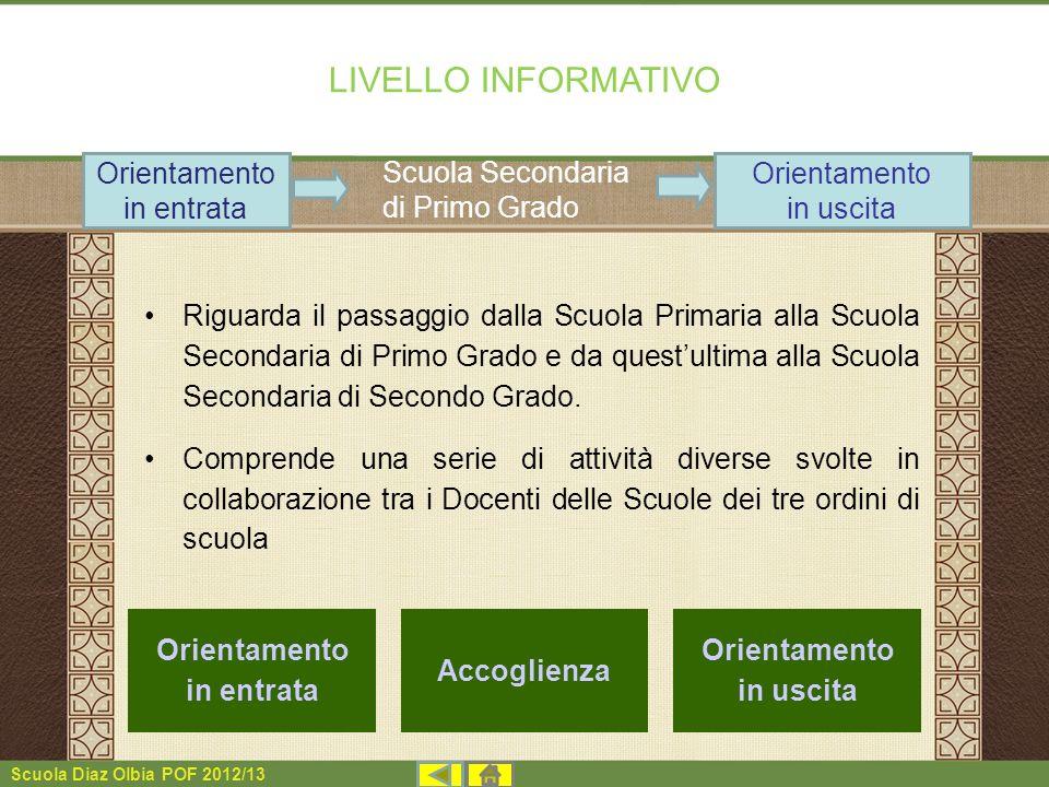 Scuola Diaz Olbia POF 2012/13 LIVELLO INFORMATIVO Riguarda il passaggio dalla Scuola Primaria alla Scuola Secondaria di Primo Grado e da questultima a