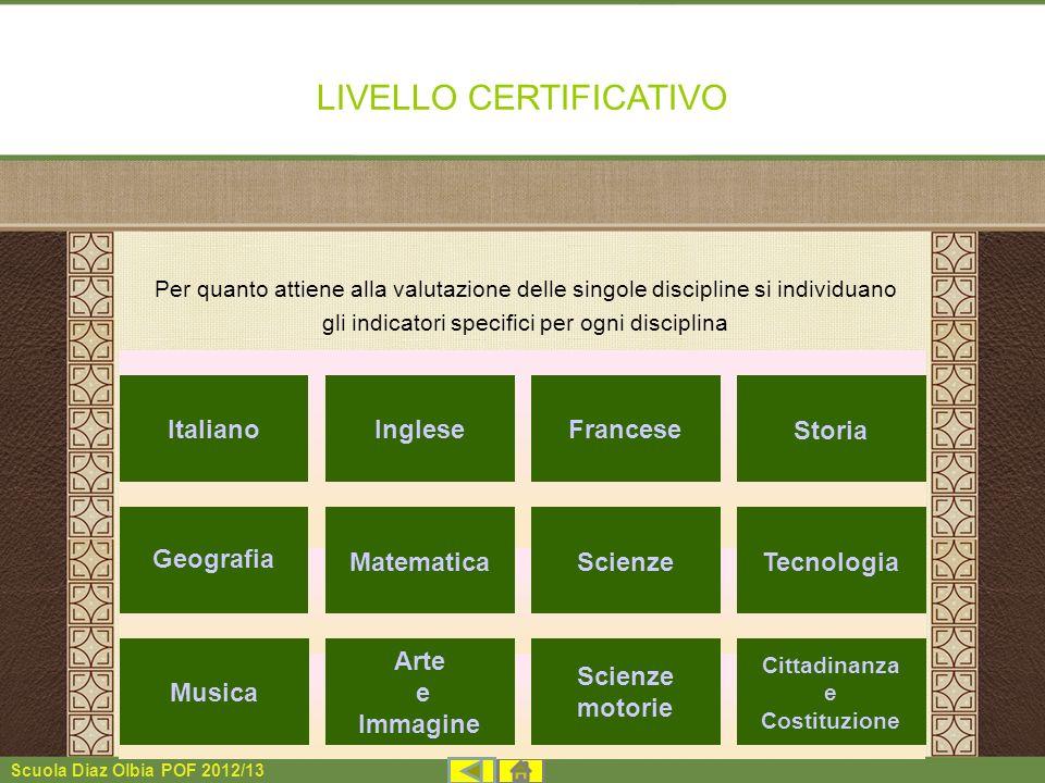 Scuola Diaz Olbia POF 2012/13 LIVELLO CERTIFICATIVO Per quanto attiene alla valutazione delle singole discipline si individuano gli indicatori specifi