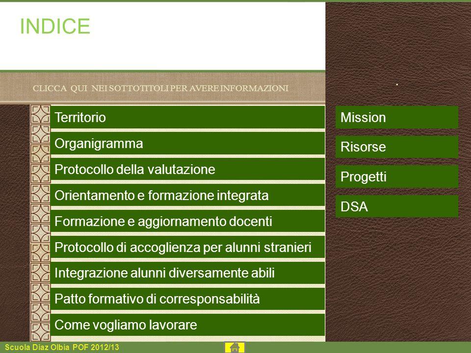 Scuola Diaz Olbia POF 2012/13 INDICE CLICCA QUI NEI SOTTOTITOLI PER AVERE INFORMAZIONI. Territorio Organigramma Protocollo della valutazione Orientame