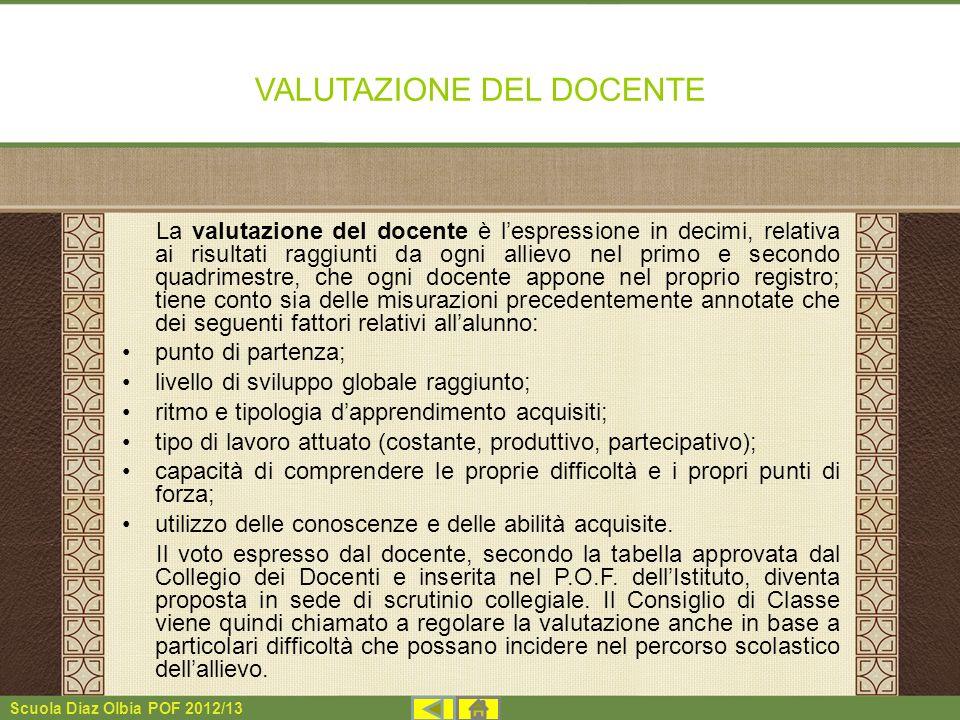 Scuola Diaz Olbia POF 2012/13 VALUTAZIONE DEL DOCENTE La valutazione del docente è lespressione in decimi, relativa ai risultati raggiunti da ogni all