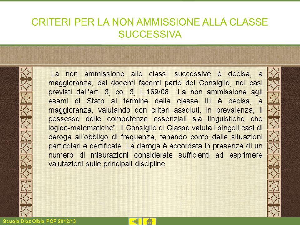 Scuola Diaz Olbia POF 2012/13 CRITERI PER LA NON AMMISSIONE ALLA CLASSE SUCCESSIVA La non ammissione alle classi successive è decisa, a maggioranza, d