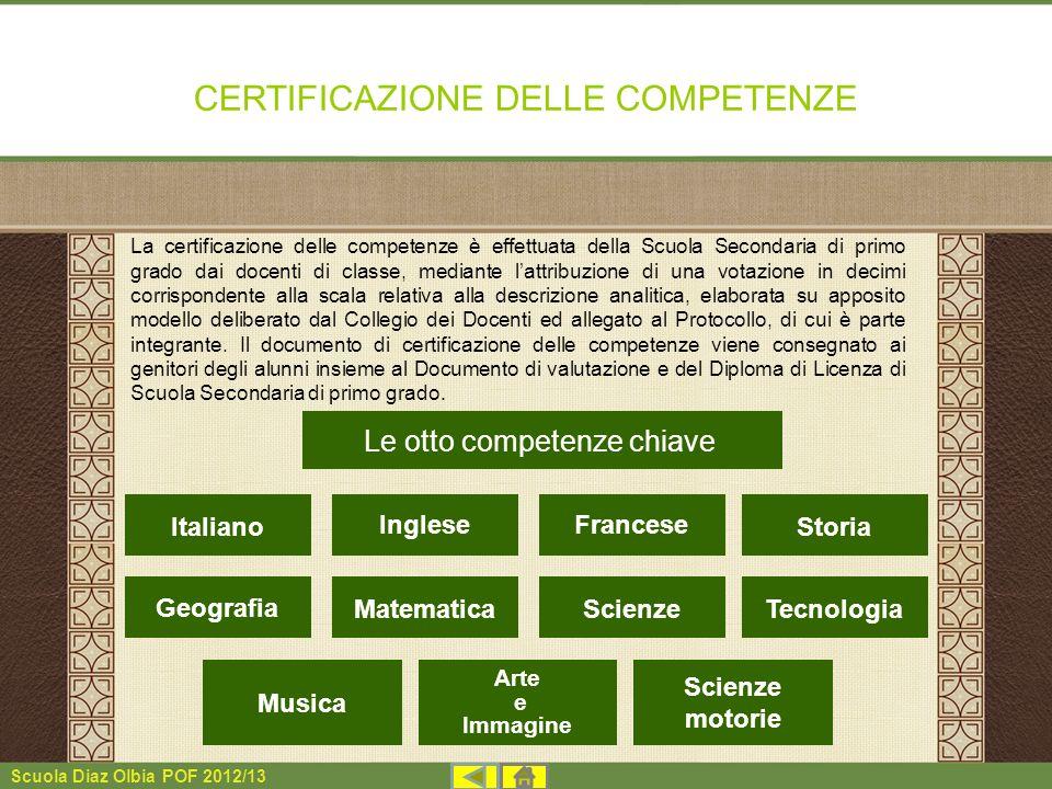 Scuola Diaz Olbia POF 2012/13 CERTIFICAZIONE DELLE COMPETENZE La certificazione delle competenze è effettuata della Scuola Secondaria di primo grado d