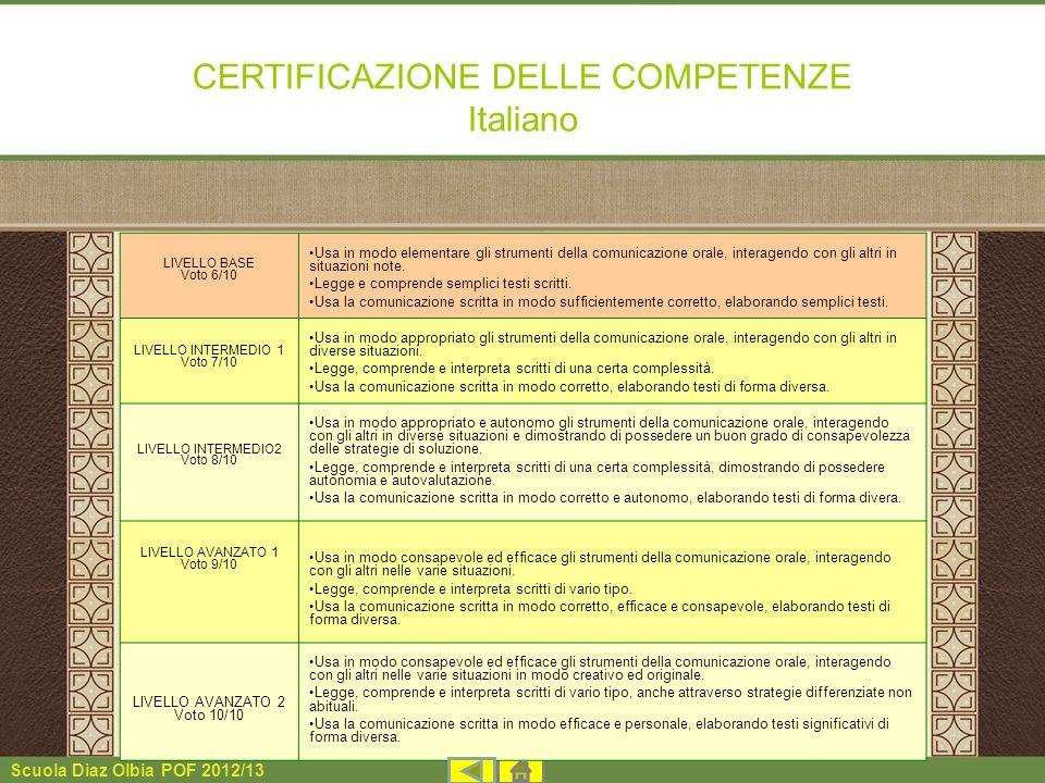 Scuola Diaz Olbia POF 2012/13 CERTIFICAZIONE DELLE COMPETENZE Italiano LIVELLO BASE Voto 6/10 Usa in modo elementare gli strumenti della comunicazione