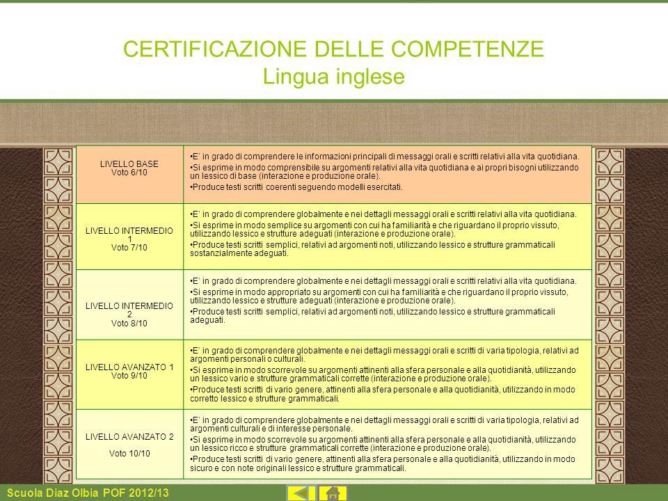 Scuola Diaz Olbia POF 2012/13 CERTIFICAZIONE DELLE COMPETENZE Lingua inglese LIVELLO BASE Voto 6/10 E in grado di comprendere le informazioni principa