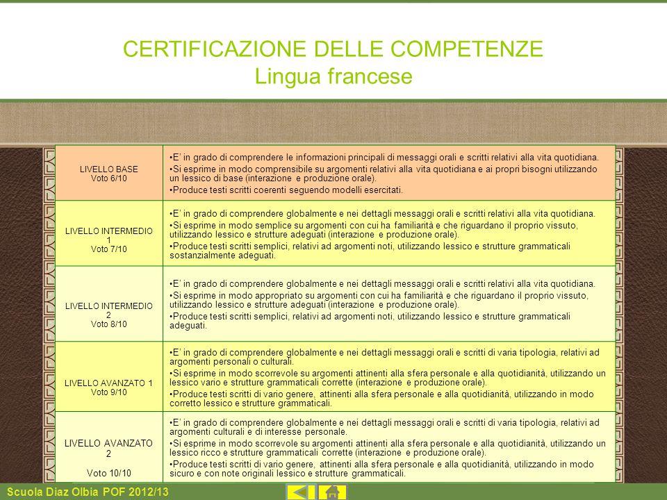 Scuola Diaz Olbia POF 2012/13 CERTIFICAZIONE DELLE COMPETENZE Lingua francese LIVELLO BASE Voto 6/10 E in grado di comprendere le informazioni princip