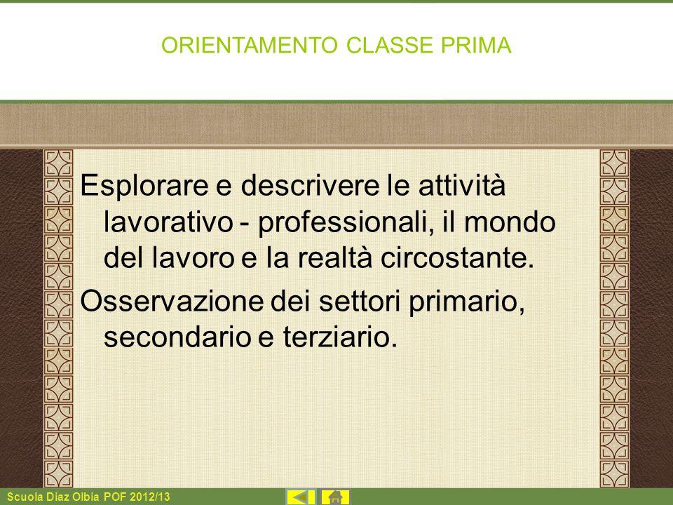 Scuola Diaz Olbia POF 2012/13 ORIENTAMENTO CLASSE PRIMA Esplorare e descrivere le attività lavorativo - professionali, il mondo del lavoro e la realtà