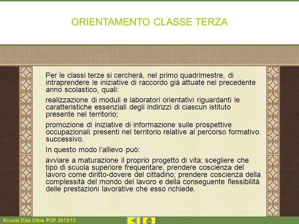 Scuola Diaz Olbia POF 2012/13 ORIENTAMENTO CLASSE TERZA Per le classi terze si cercherà, nel primo quadrimestre, di intraprendere le iniziative di rac