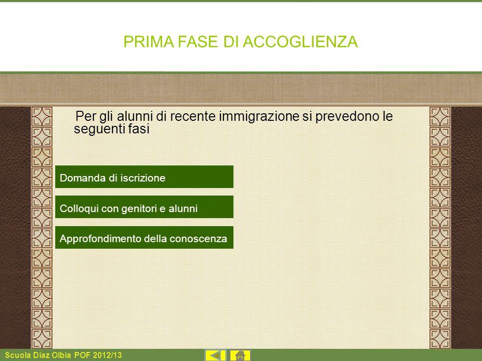 Scuola Diaz Olbia POF 2012/13 PRIMA FASE DI ACCOGLIENZA Per gli alunni di recente immigrazione si prevedono le seguenti fasi Domanda di iscrizione Col