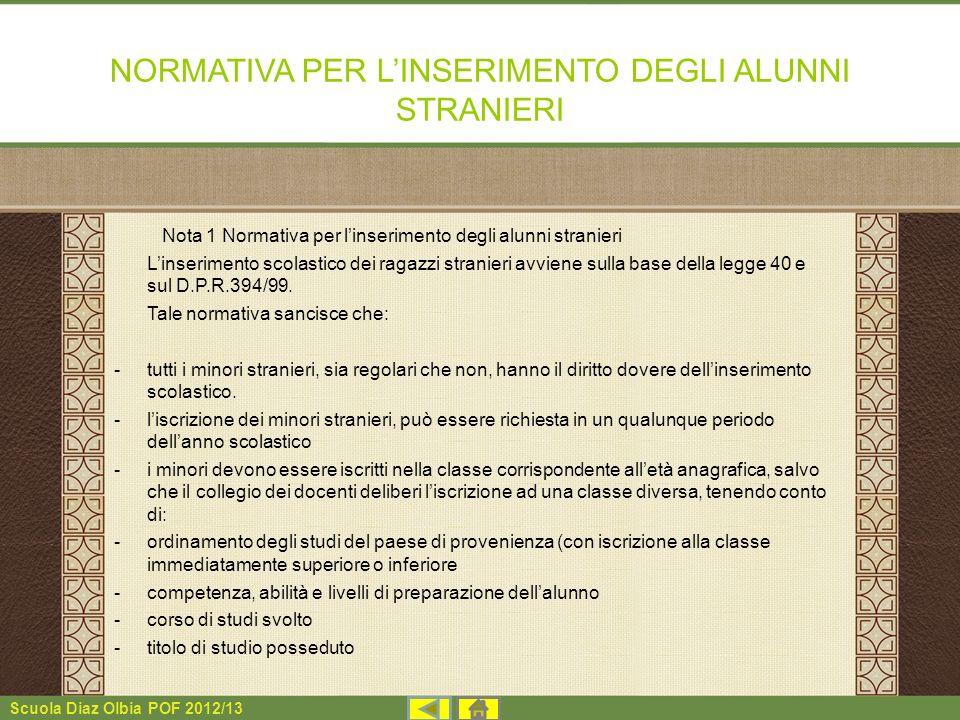 Scuola Diaz Olbia POF 2012/13 NORMATIVA PER LINSERIMENTO DEGLI ALUNNI STRANIERI Nota 1 Normativa per linserimento degli alunni stranieri Linserimento