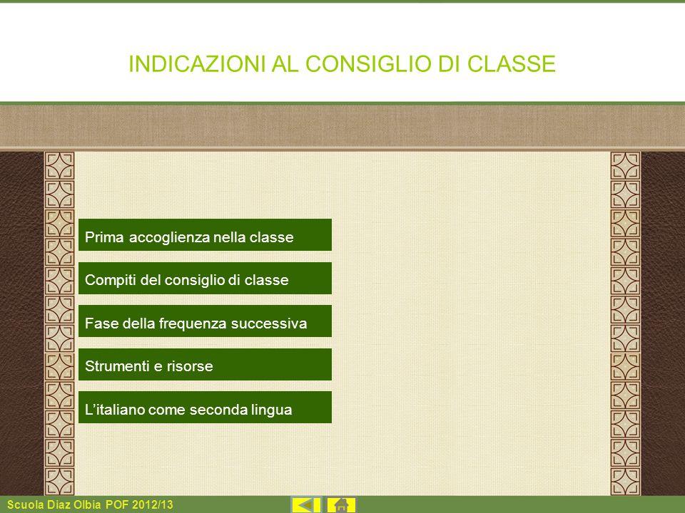 Scuola Diaz Olbia POF 2012/13 INDICAZIONI AL CONSIGLIO DI CLASSE Prima accoglienza nella classe Litaliano come seconda lingua Compiti del consiglio di