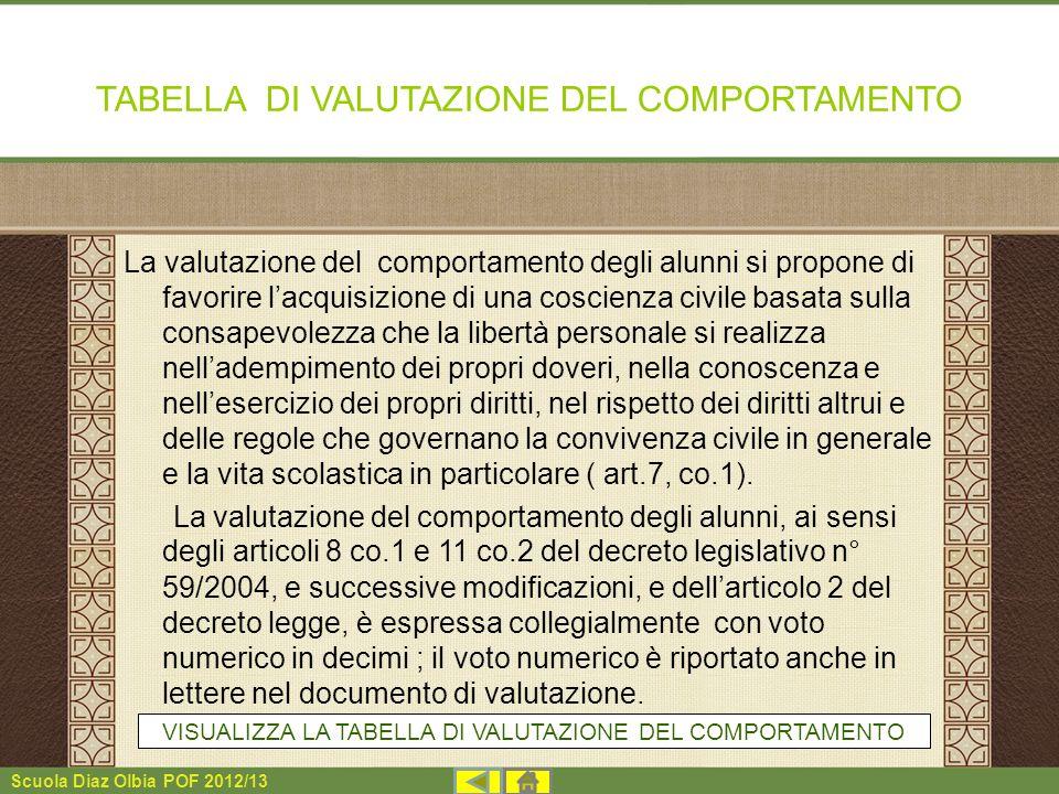 Scuola Diaz Olbia POF 2012/13 TABELLA DI VALUTAZIONE DEL COMPORTAMENTO La valutazione del comportamento degli alunni si propone di favorire lacquisizi