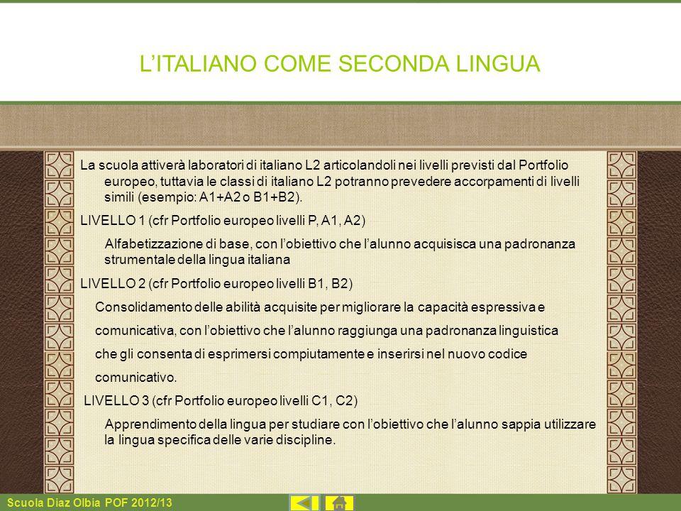 Scuola Diaz Olbia POF 2012/13 LITALIANO COME SECONDA LINGUA La scuola attiverà laboratori di italiano L2 articolandoli nei livelli previsti dal Portfo