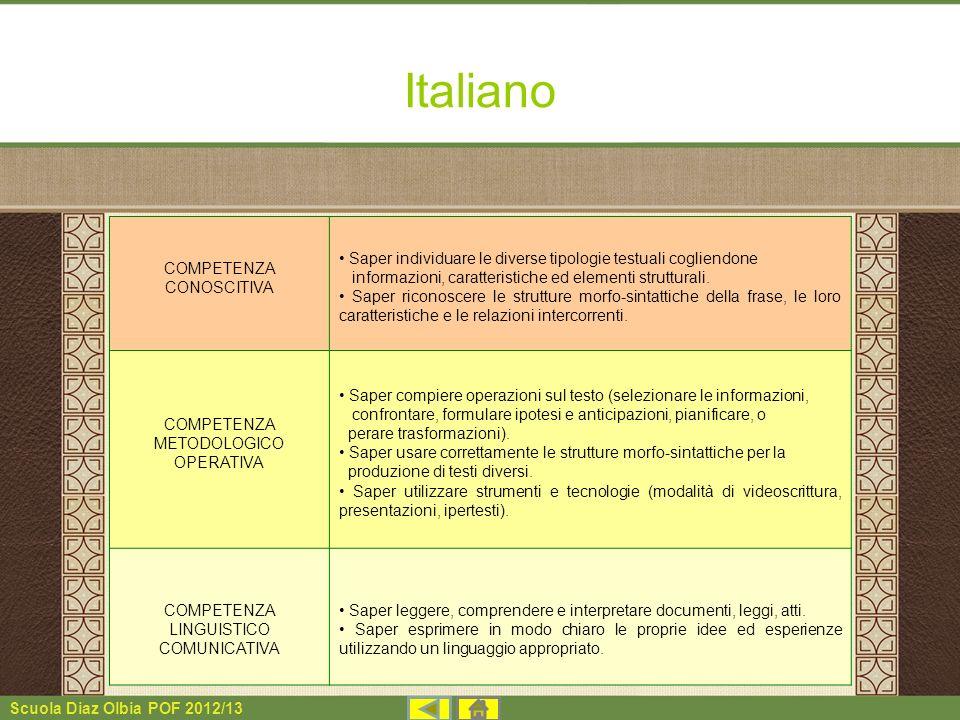 Scuola Diaz Olbia POF 2012/13 Italiano COMPETENZA CONOSCITIVA Saper individuare le diverse tipologie testuali cogliendone informazioni, caratteristich