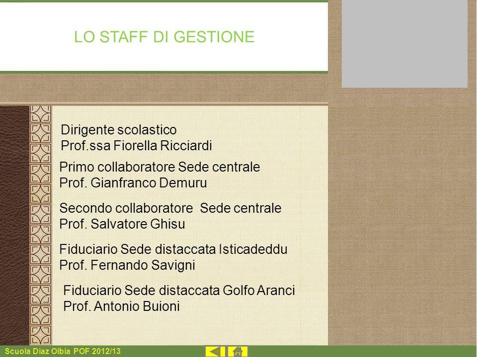 Scuola Diaz Olbia POF 2012/13 LO STAFF DI GESTIONE Dirigente scolastico Prof.ssa Fiorella Ricciardi Primo collaboratore Sede centrale Prof. Gianfranco