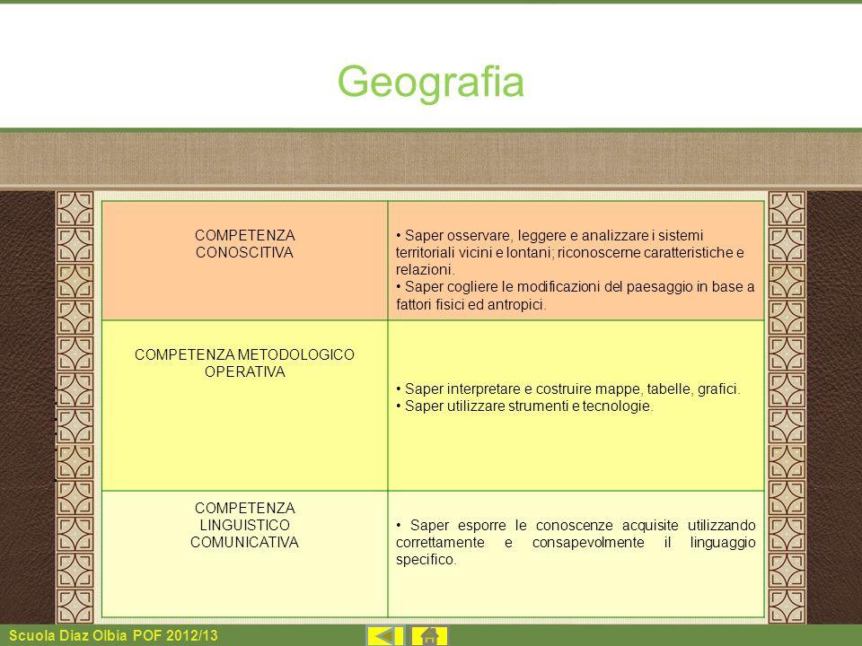 Scuola Diaz Olbia POF 2012/13 Geografia COMPETENZA CONOSCITIVA Saper osservare, leggere e analizzare i sistemi territoriali vicini e lontani; riconosc