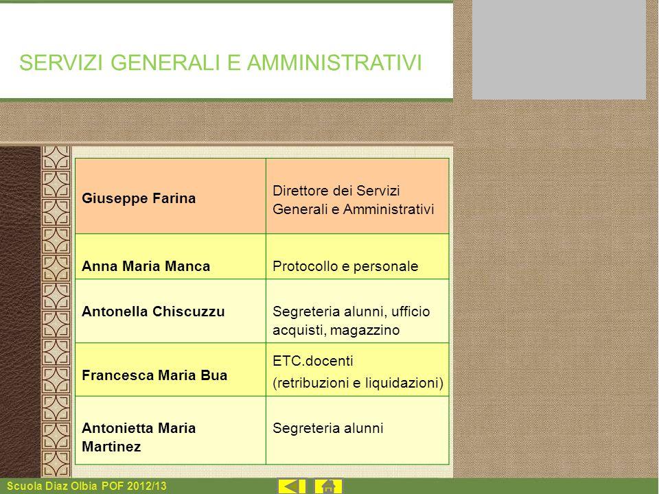 Scuola Diaz Olbia POF 2012/13 Giuseppe Farina Direttore dei Servizi Generali e Amministrativi Anna Maria MancaProtocollo e personale Antonella Chiscuz