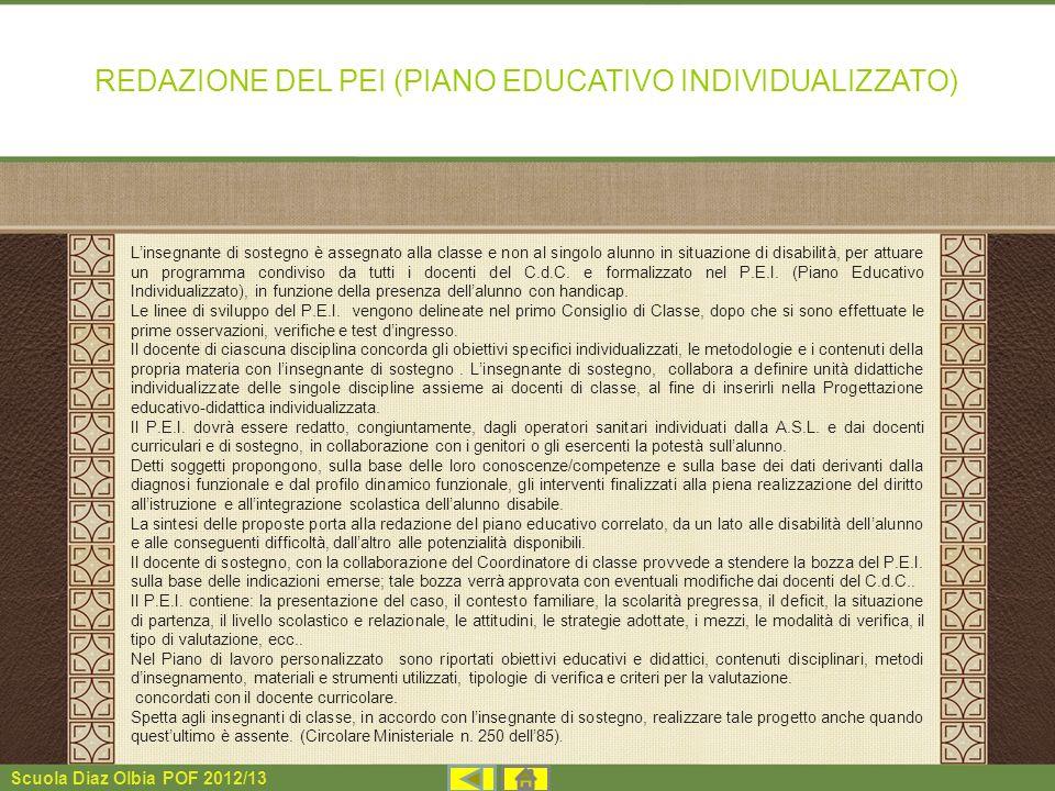 Scuola Diaz Olbia POF 2012/13 REDAZIONE DEL PEI (PIANO EDUCATIVO INDIVIDUALIZZATO) Linsegnante di sostegno è assegnato alla classe e non al singolo al