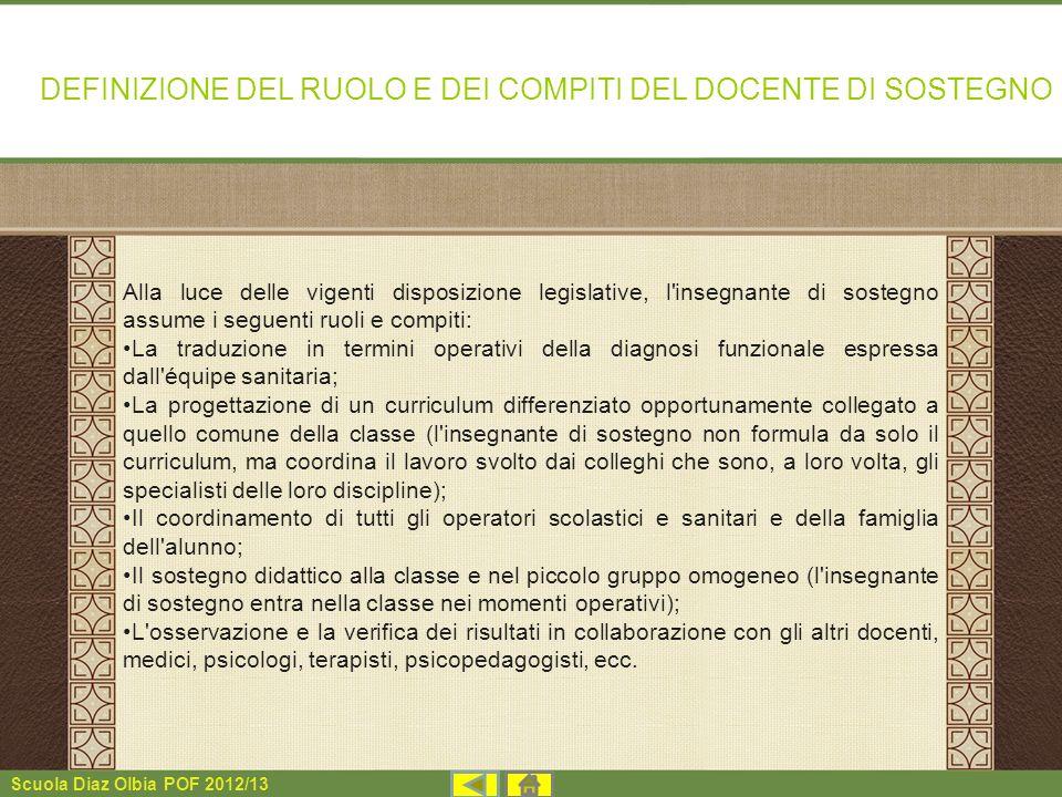 Scuola Diaz Olbia POF 2012/13 Alla luce delle vigenti disposizione legislative, l'insegnante di sostegno assume i seguenti ruoli e compiti: La traduzi