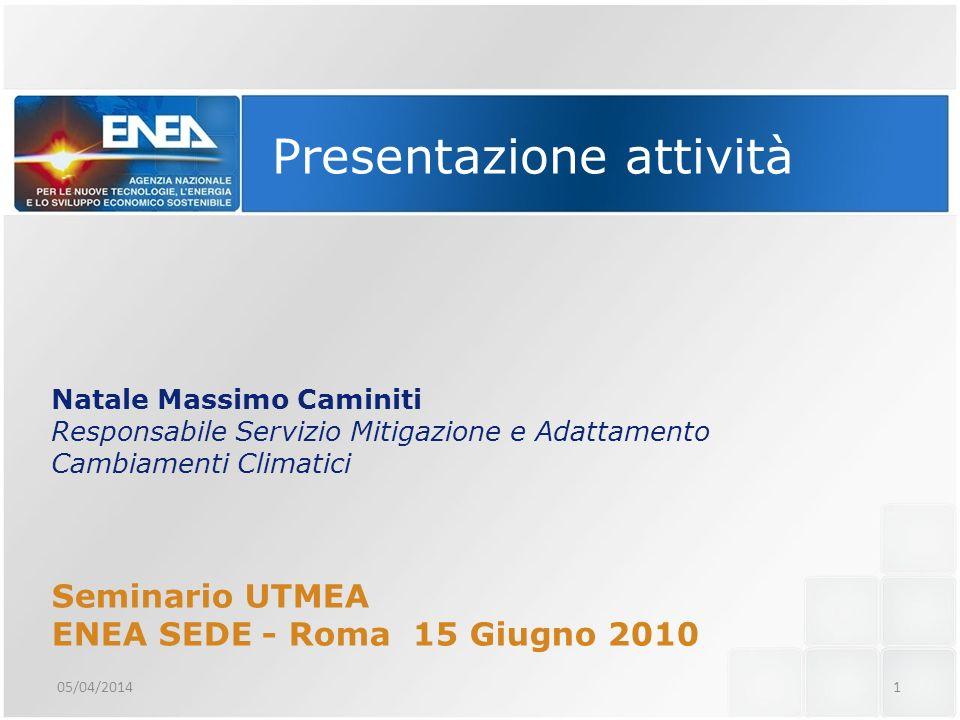 Presentazione attività Natale Massimo Caminiti Responsabile Servizio Mitigazione e Adattamento Cambiamenti Climatici Seminario UTMEA ENEA SEDE - Roma 15 Giugno 2010 05/04/20141
