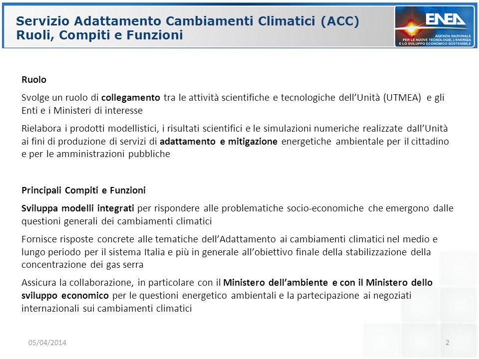 2 Servizio Adattamento Cambiamenti Climatici (ACC) Ruoli, Compiti e Funzioni Ruolo Svolge un ruolo di collegamento tra le attività scientifiche e tecn