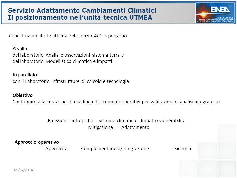 Concettualmente le attività del servizio ACC si pongono 05/04/20143 Servizio Adattamento Cambiamenti Climatici Il posizionamento nellunità tecnica UTMEA A valle del laboratorio Analisi e osservazioni sistema terra e del laboratorio Modellistica climatica e impatti In parallelo con il Laboratorio infrastrutture di calcolo e tecnologie Obiettivo Contribuire alla creazione di una linea di strumenti operativi per valutazioni e analisi integrate su Emissioni antropiche - Sistema climatico – Impatto vulnerabilità Approccio operativo SpecificitàComplementarietà/Integrazione Sinergia Mitigazione Adattamento