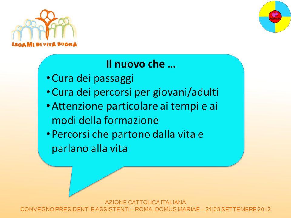 AZIONE CATTOLICA ITALIANA CONVEGNO PRESIDENTI E ASSISTENTI – ROMA, DOMUS MARIAE – 21|23 SETTEMBRE 2012 Il nuovo che … Cura dei passaggi Cura dei perco