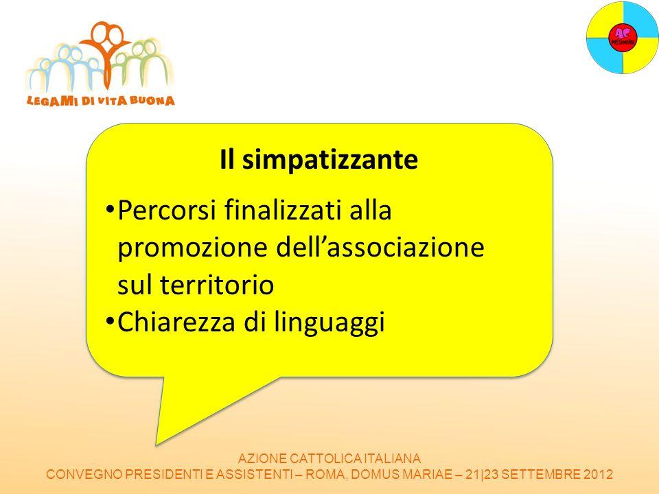 AZIONE CATTOLICA ITALIANA CONVEGNO PRESIDENTI E ASSISTENTI – ROMA, DOMUS MARIAE – 21|23 SETTEMBRE 2012 Il simpatizzante Percorsi finalizzati alla prom