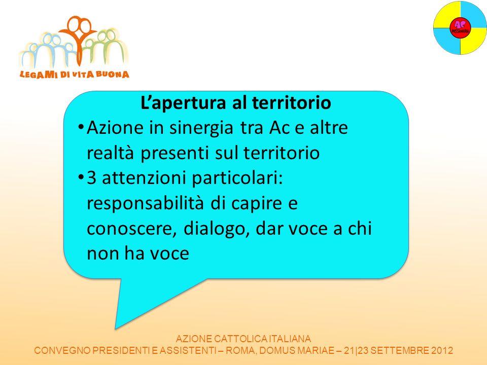 AZIONE CATTOLICA ITALIANA CONVEGNO PRESIDENTI E ASSISTENTI – ROMA, DOMUS MARIAE – 21|23 SETTEMBRE 2012 Lapertura al territorio Azione in sinergia tra