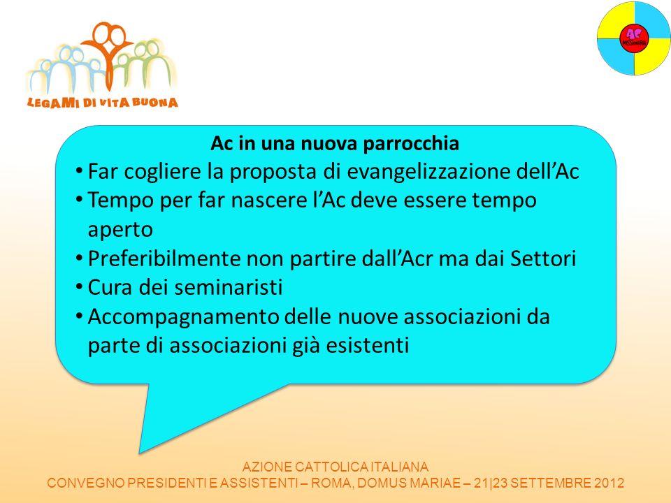 AZIONE CATTOLICA ITALIANA CONVEGNO PRESIDENTI E ASSISTENTI – ROMA, DOMUS MARIAE – 21|23 SETTEMBRE 2012 Ac in una nuova parrocchia Far cogliere la prop