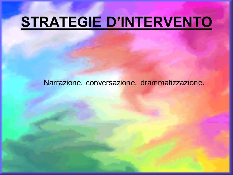 STRATEGIE DINTERVENTO Narrazione, conversazione, drammatizzazione.